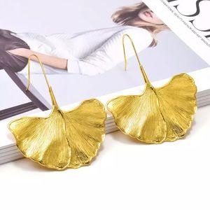 Big Gold Ginko Leaf drop Earrings